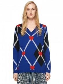 MSGM藍色心形圖案針織長袖衫