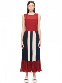 RED Valentino 黑紅色皺摺長裙