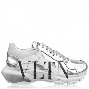 VALENTINO 銀色VLTN彈跳運動鞋