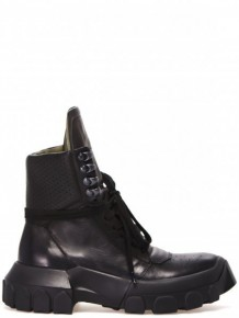 Rick Owens 厚底黑色彩及踝靴