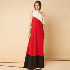 紅色單膊設計晚裝長裙