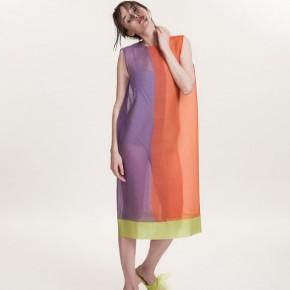 青綠橙色併紫色背心真絲長裙