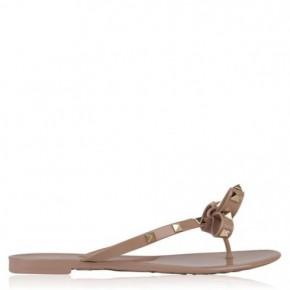 VALENTINO Rockstud裸色平底涼鞋