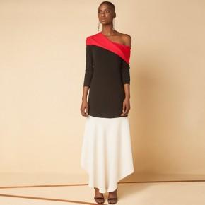 紅黑色蝴蝶結設計中長裙款