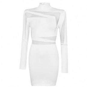 BALMAIN 白色網紗拼接緊身連衣裙