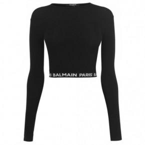 BALMAIN黑色短款長袖上衣
