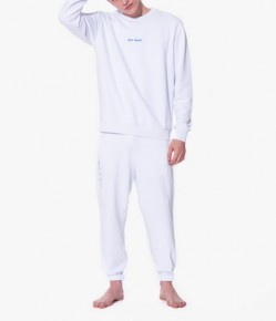 白色繡字長袖衛衣長褲家居服套裝