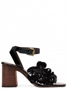 SEE BY CHLOE黑色花朵皮革高跟涼鞋