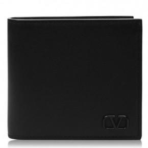 VALENTINO V LOGO 黑色皮革銀包
