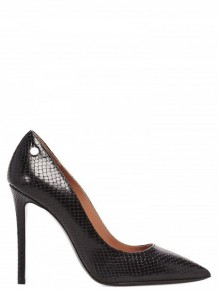Pollini 黑色蛇皮高跟鞋