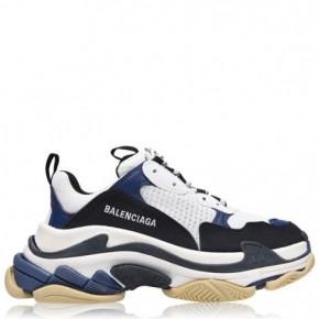 BALENCIAGA 藍白黑Triple S運動鞋