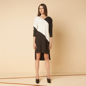 黑白併色V領長袖不對稱長裙