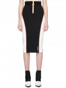 OFF WHITE 黑白色拉鍊鉛筆裙
