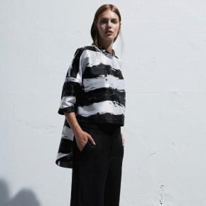 黑白印刷提花設計不對稱上衣
