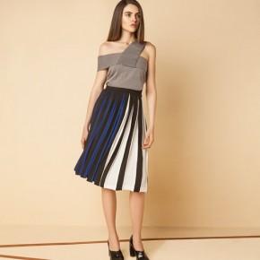 菱格單膊設計百摺中長裙