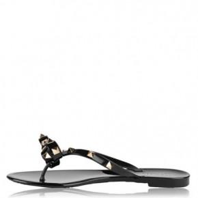 VALENTINO 黑色 Rockstud 平底涼鞋