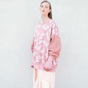 JHH粉紅色針織花紋長袖毛衣