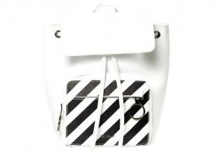 Off White 白色條紋皮革背包