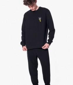 黑色飛船設計繡字長袖衛衣