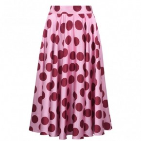 DOLCE AND GABBANA 波點印花緞布中長半裙
