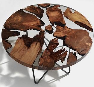 木製地殼餐桌 柔合了現代科技和復古的設計作品