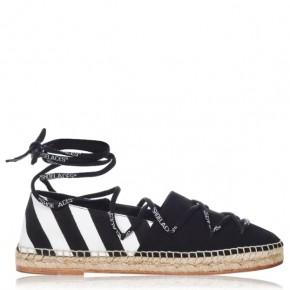 Off White 斜條紋綁帶草編鞋