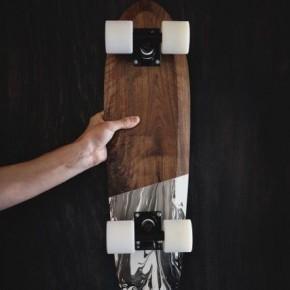 核桃木製滑板配大理石紋輪子