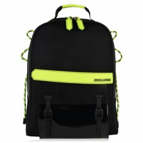 DSQUARED2 FLUORESCENT TRIM 黑配螢光黃色背包