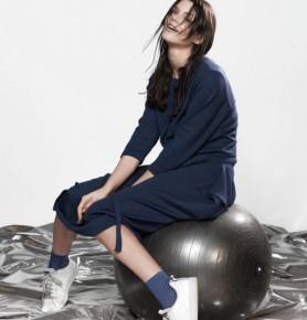 灰藍色長袖針織中長裙
