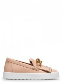 Giuseppe Zanotti 裸色皮革平底Loafers鞋