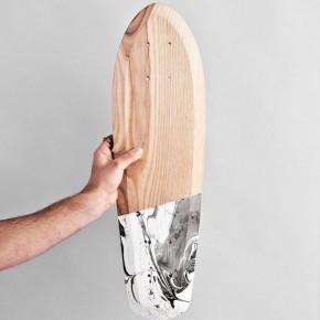 木製白色黑色彩繪滑板