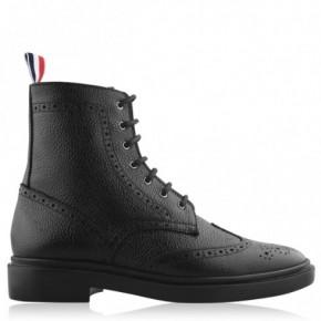 THOM BROWNE 黑色卵石紋牛皮翼紋短靴