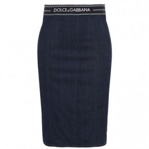 DOLCE AND GABBANA 腰帶款丹寧中長款半裙