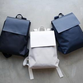 韓國設計三色皮革翻蓋背包