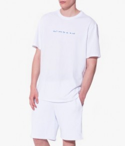 白色繡字短袖衛衣短褲家居服套裝