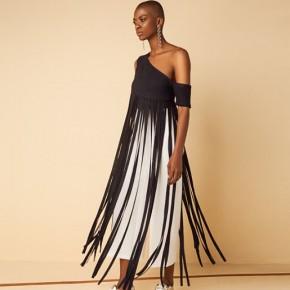 黑色單膊設計長裙