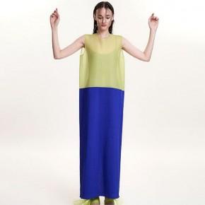 青綠藍併色背心真絲長裙