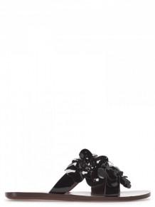 SEE BY CHLOE黑色花朵皮革涼鞋