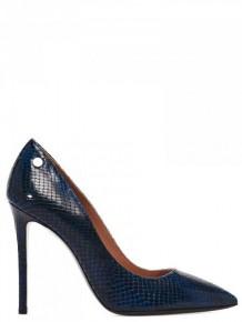 Pollini 深藍色蛇皮高跟鞋