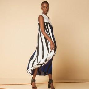 白藍黑色單膊設計百摺長裙